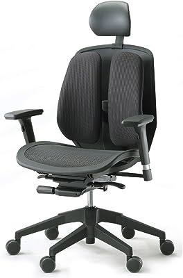 デュオレスト オフィスチェア メッシュブラック 可動肘 メッシュ地 可動ヘッドレスト 腰痛対策 姿勢サポート α80H 1ABK1