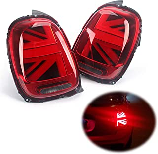 Miniclue 3D Optic Red Lens Union Jack UK Flag Design LED Rear Taillights Tail Brake Lamps Assembly For 2014 2015 2016 2017 2018 Mini cooper F55 F56,2pcs