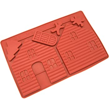 Silicone Chocolate Cookie Candy Molds [Gingerbread House, 2-PC] - Non Stick, BPA Free, Reusable 100% Silicon & Dishwasher Safe Silicon - Kitchen Rubber Tray For Crayons, Fat Bombs and House Molds
