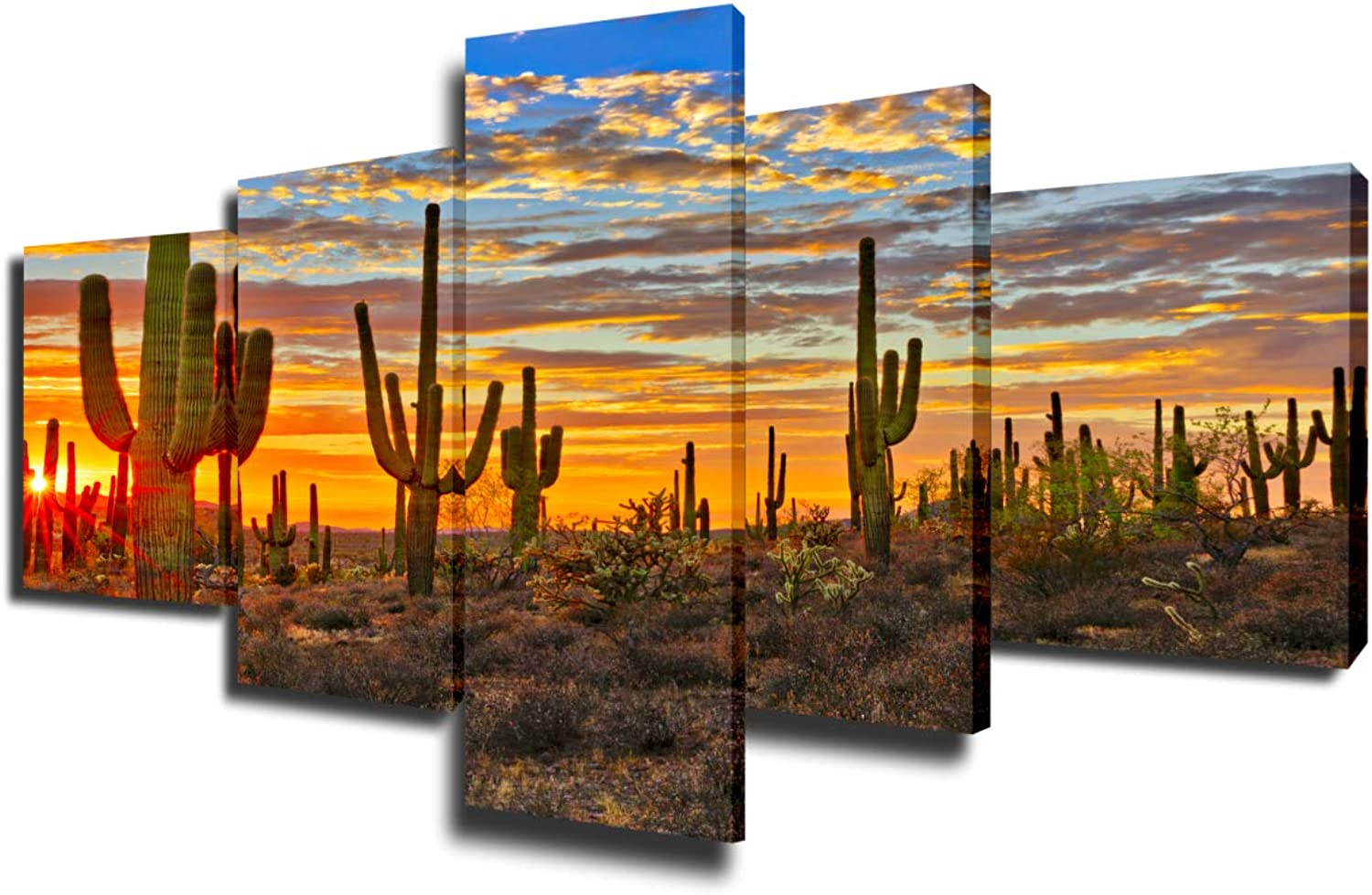Native America Decor Arizona Desert Paintings for Living Room Saguaro Cacti Mountains Pictures 5 Piece Canvas Wall Art Modern Artwork Framed Gallery-wrapped Stretched Ready to Hang(50''Wx24''H)