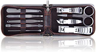 SHANY 9 In 1 Manicure/Pedicure Kit with Brown Case Stainless Steel Opening Night, 5.4 Ounce