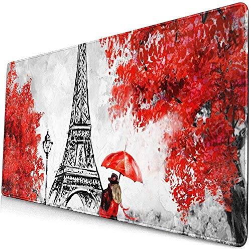 muismat muismat anti-slip rubber duurzame Parijs liefhebbers kus in straat rode paraplu Eiffeltoren