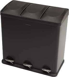 Cubo de basura Homra Luxus con control/de pie 3/compartimentos de 20 litros color mate gris//negro sistema de separaci/ón de basura de acero inoxidable de alta calidad