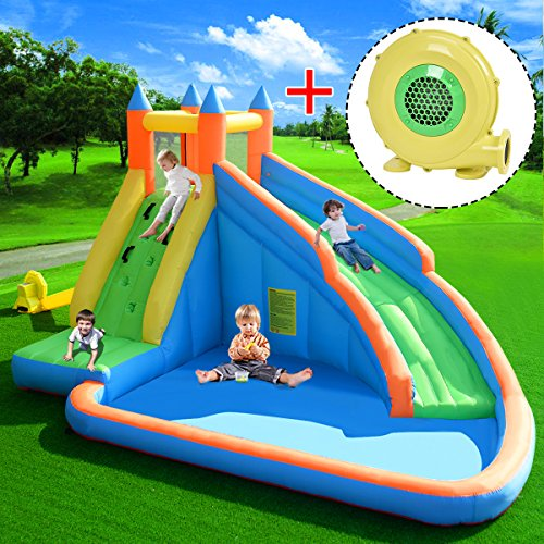 COSTWAY Inflatable Bouncy Castle Outdoor Garden Kids Jumper House Water Slide Activity (Bouncy Castle w/Blower)