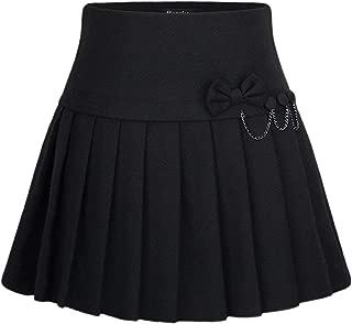 Women's A-Line Plaid Wool Blend Pleated Skirt Side Zipper