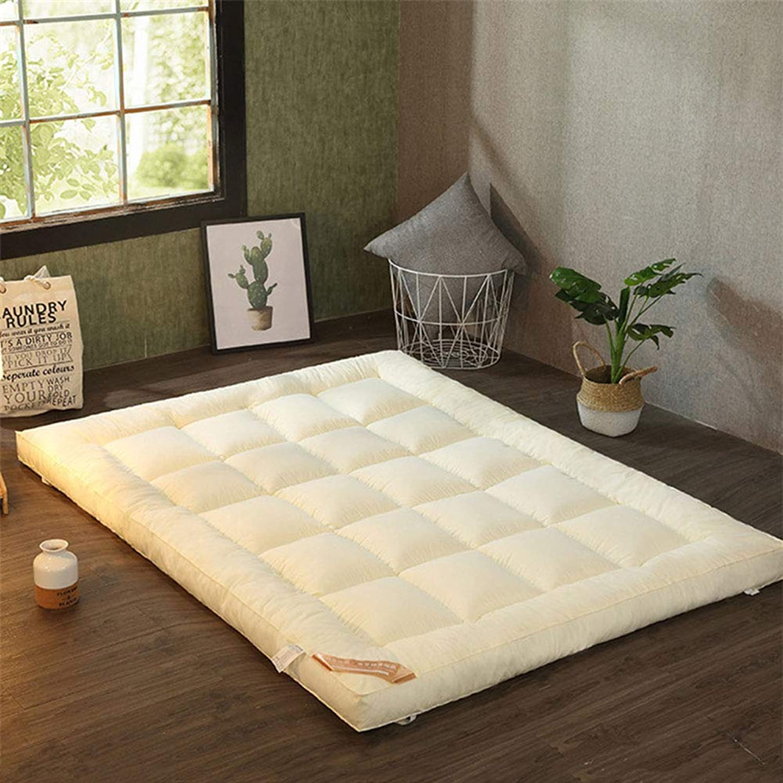 Folding Tatami Floor Mattress, Thick Quilted Soft Hypoallergenic Futon Mattress Sleeping Mat for Dorm Bedroom -Beige 100x200cm(39x79inch)