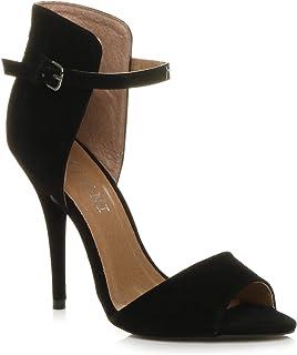 Ajvani Women's High Heel Two Tone Sandals Shoes Size
