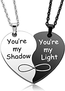 Top Plaza 2 Pcs Puzzle Matching Heart Couples Necklaces Stainless Steel You are My Shadow/Light Pendant Necklace Set for W...