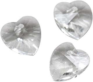 Dophee 20Pcs 10mm Glass Crystal Heart Shaped Spacer Beads for Jewelry Earring Findings Pendants, Transparent