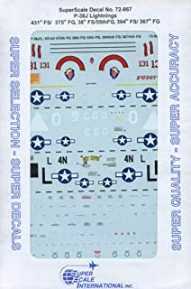 SuperScale Decals 1:72 P-38 J Lightnings 431st FS 375th FG 38th FS 55th #72-867