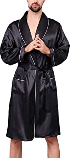HX fashion Bathrobe Men's Short Spring Summer Solid Color Silk Kimono Comfortable Sizes Long Sleeve V-Neck Loose Comfortab...