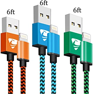 iPhone Charger MFi Certified iPhone Charger Cord Aioneus Fast Charging Cable 6FT 3 Pack Lightning Cable Braided iPhone Charging Cord for iPhone 11 Pro Max XR XS X 10 8 7 6s 6 Plus 5 5s SE 2020, iPad