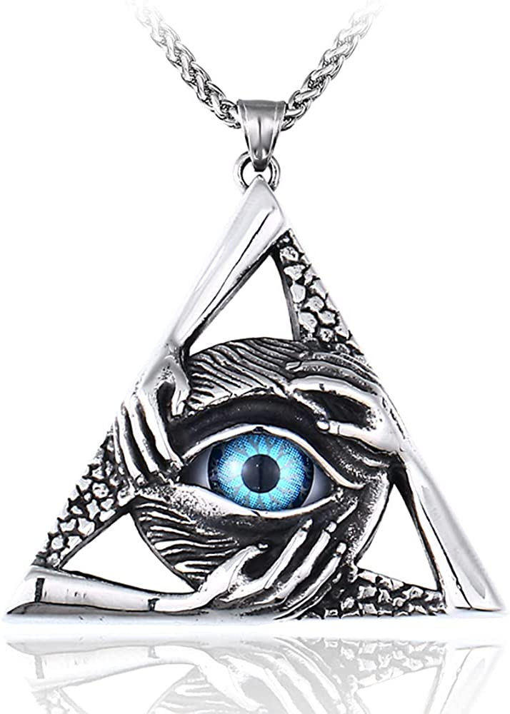 Stainless Steel Vintage Evil Eye Pendant Protection Hands Triangle Pendant Necklace for Men Women, 24 inch Chain