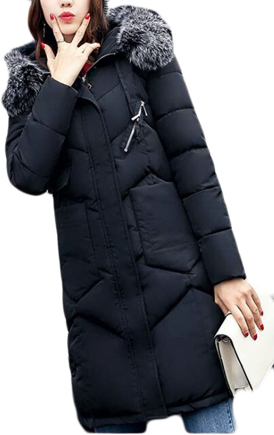 KLJRWomen Plus Size Padded Full Length Coat With Fur Trim Removable Hooded