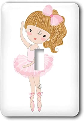1 Gang Wall Plate Cover Decorator Wall Switch Light Plate Double Receptacle Outlet Cute Dancing Ballerina Little Girl Illustration Classic Beadboard Unbreakable Faceplate