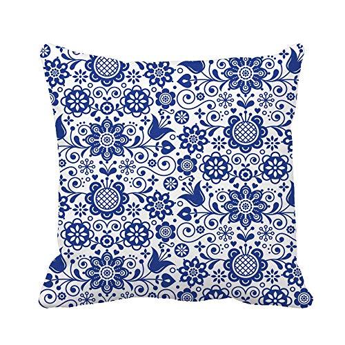 N\A Throw Pillow Cover Floral Folk Pattern Escandinavo Azul Marino Repetitivo Flores nórdicas Funda de Almohada Funda de Almohada Cuadrada Decorativa para el hogar Funda de cojín