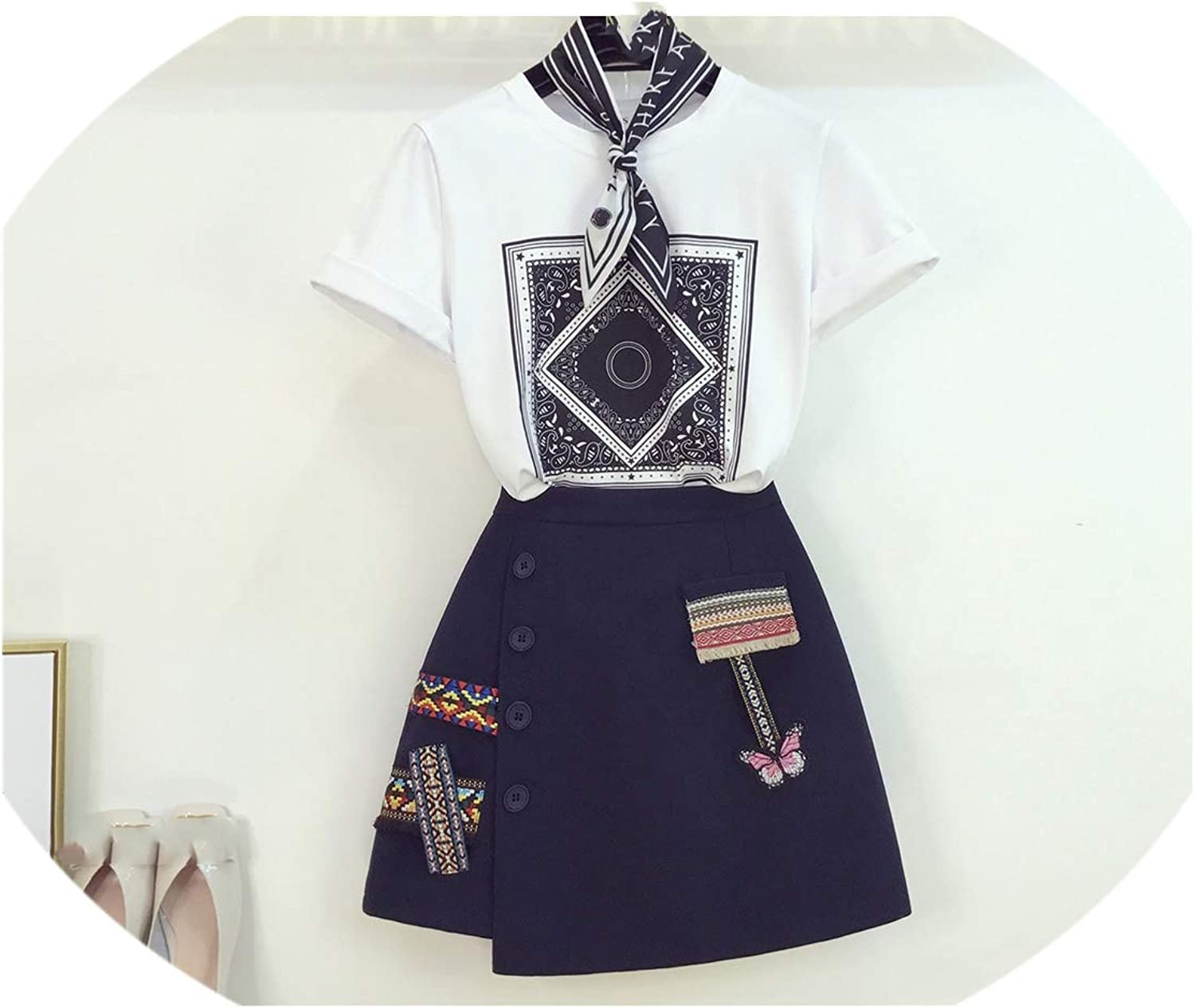 Enjoypeak Summer Ladies Mini Skirts Suit New Print TShirt with Embroidery Skirt Goddess Two Piece Women's