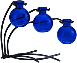 Decorative Colored Glass Floral, Bud or Rooting 3 Vase Set with Stand - G112 Cobalt Vase ~ Use as Flower, Bud, Plant Starter Vase. Colorful Gift Box Included