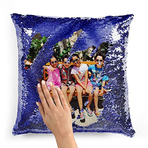 Custom Personalized Flip Reversible Sequin Pillow Cover Empty DIY Throw Case Decorative Home Decor with Your Personal Photo, Text, or Logo - Gift for him, her, Christmas, Birthday, Holiday (Dark Blue)