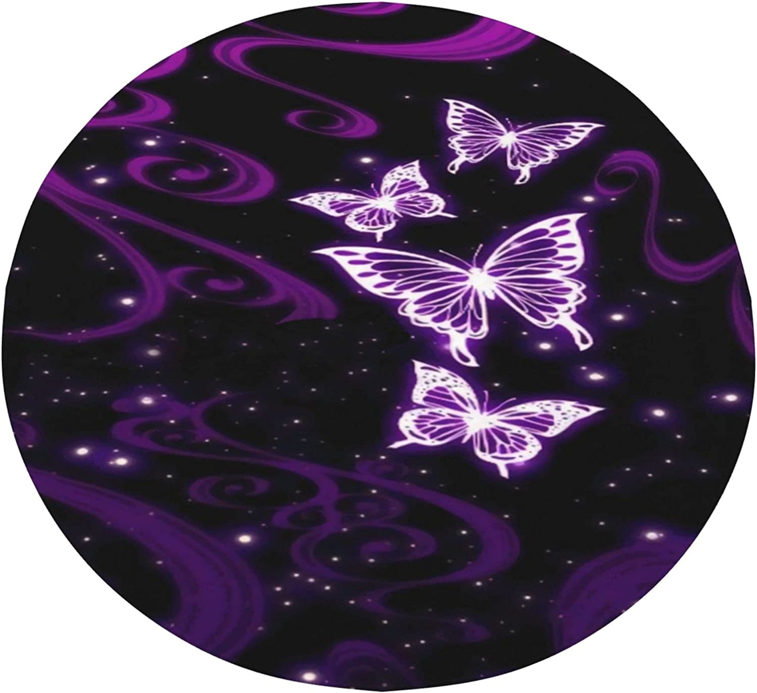Night Space Genuine Free Shipping Purple Super-cheap Butterfly Round Blanket Warm Bedro Plush Soft