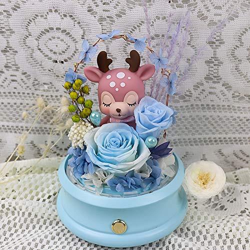 qiyanEternal Life Bluetooth Lautsprecher Kreatives Ewige Blume Rose Glasabdeckung Blau