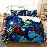 GSYHZL Taie d'oreiller de Housse de Couette à Motif d'impression 3D Spiderman,Simple Double King Size,Ensemble de literie préféré pour garçons,Adolescents - Spiderman 13_140x210(2PCS)