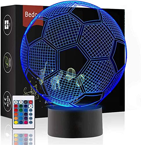 LED Night Lights 3D Illusion Bedside Table Lamp 16 Colours Changing Sleeping Lighting with Smart Touch Button Cute Gift Warming Present Creative Decoration Ideal Art and Crafts (Football)
