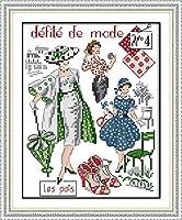 刺繡スターターキット刻印クロスステッチキットDIY11CT刺繡のファッションモデル、簡単で面白いプレプリントパターン16x20インチ