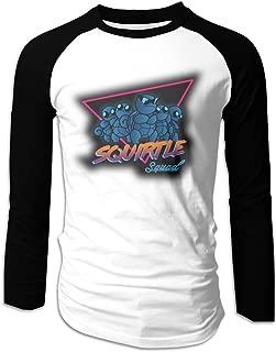 Squirtle Squad Men's Game Raglan Long Sleeve Baseball T-Shirts Black