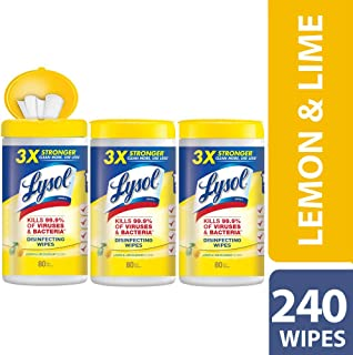 Lysol Disinfecting Wipes, Lemon & Lime Blossom, 240ct (3X80ct)
