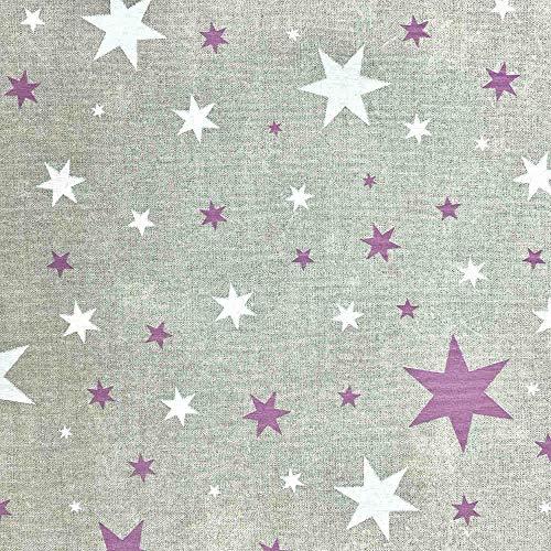 Kt KILOtela Tela de loneta Estampada - Retal de 100 cm Largo x 280 cm Ancho | Estrellas - Lila, Blanco ─ 1 Metro