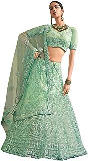 الزفاف الهندي والحفلات مصمم الأخضر شبكة الترتر والخيط التطريز ليهينغا غاغرا شولي دوباتا 6032 2