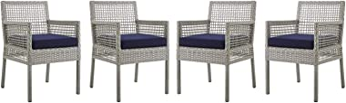 Modern Outdoor Patio Side Dining Armchair Chair, Set of Four, Fabric Rattan, Grey Gray Navy Blue