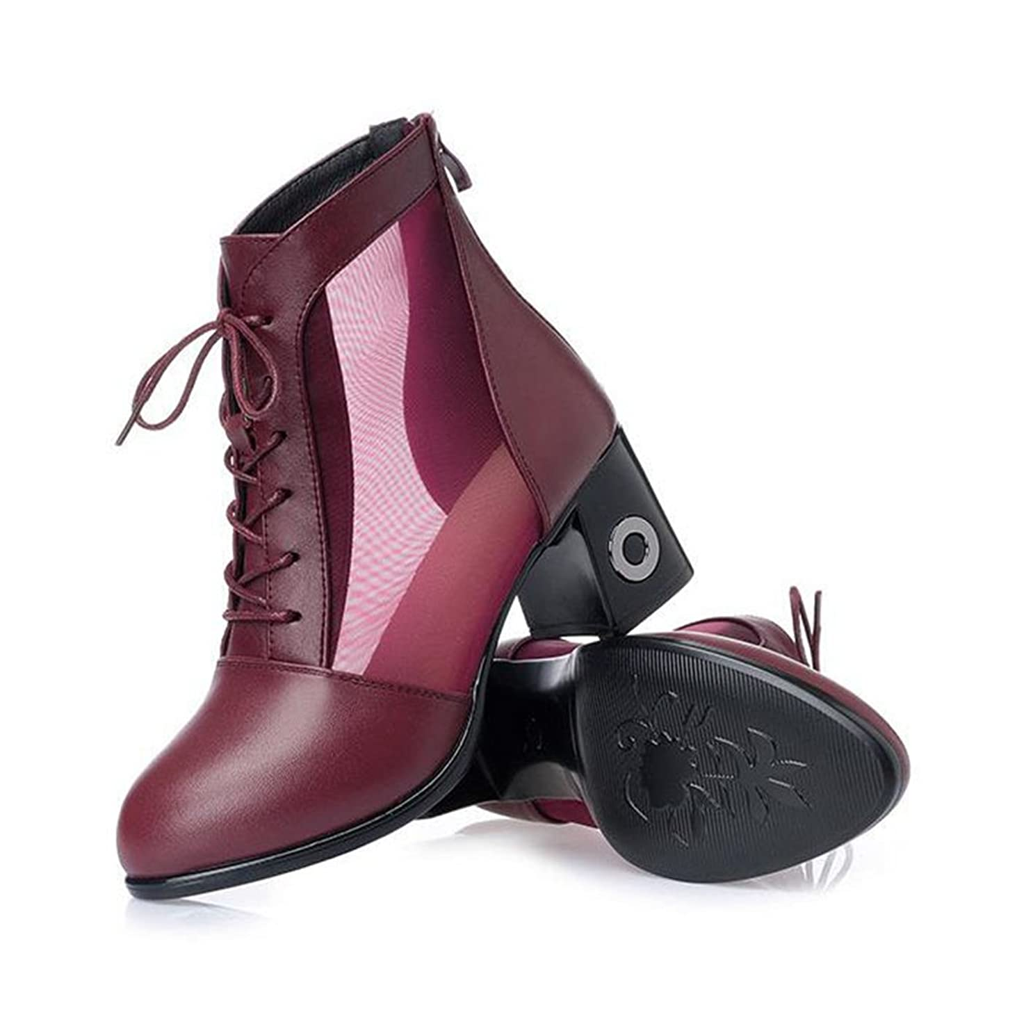 神秘的な忌み嫌う確かめる[HR株式会社] イギリス風 レディースシューズ ショート ブーツ 太めヒールサンダル ラウンドトゥ 靴 ファッション 大きいサイズ 女性用 春夏 通気 防滑 美脚 身長UP サイズ22.5cm-26.0cm