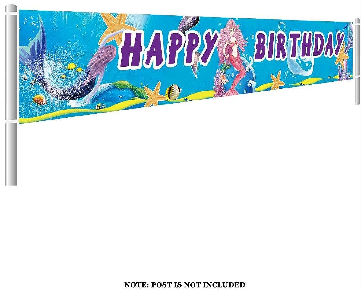 Colormoon Large Mermaid Happy Birthday Banner, Mermaid Party Supplies Decorations, Mermaid Under The Sea Birthday Party Decor (9.8 x 1.5 feet)