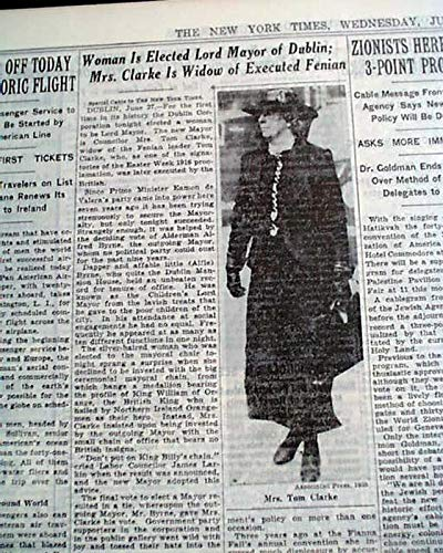 KATHLEEN CLARKE Becomes 1st Woman Lord Mayor of Dublin IRELAND 1939 Newspaper THE NEW YORK TIMES, June 28, 1939