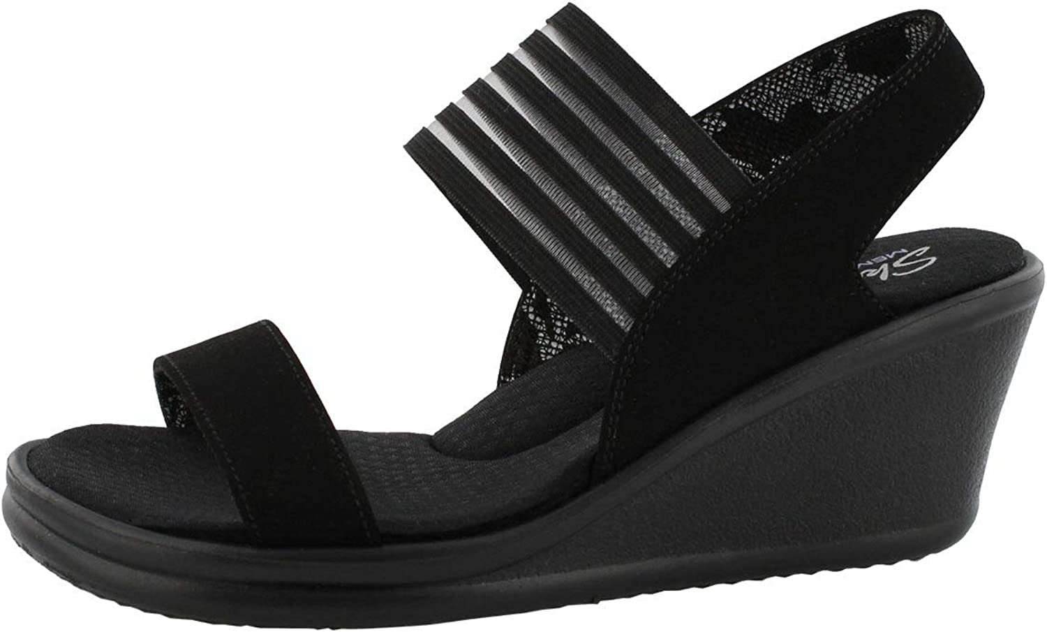 Skechers Women's Rumblers Sci-Fi Sling Back Wedge Sandal- Wide