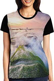 Women's T Shirts,Malaysia Landmark Nature Wonders Photo of Fountains Stream Mossy Rocks with Ombre Sky