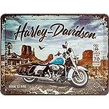 Nostalgic-Art Cartel de Chapa Retro Harley-Davidson – Route 66 Road King – Regalo...