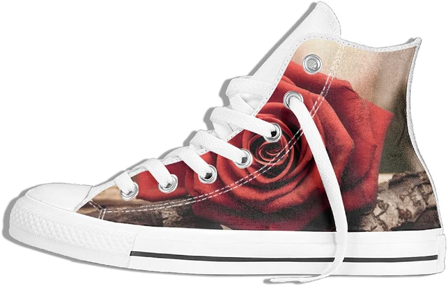 HDMEI Unisex High-Top Sneakers shoes pink Wood Lace Up Anti-slip Canvas Casual Soft Trainers shoes