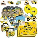 DH-Konzept 69-teiliges Party-Set - Baustelle - Teller Becher Servietten Platzsets Einladungen Girlande Trinkhalme Geschenkebox mit Bagger und Radlader für 6 - 8 Kinder
