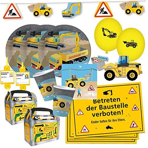 DH-Konzept 69-teiliges Party-Set - Baustelle - Teller Becher Servietten Platzsets Einladungen Girlande Trinkhalme Geschenkebox mit Bagger & Radlader für 6 - 8 Kinder