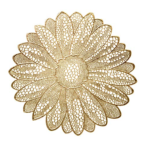 Occasions 10 Pack Pressed Vinyl Metallic Placemats/Charger / Wedding Accent Centerpiece (10 pcs, Fiore Gold)