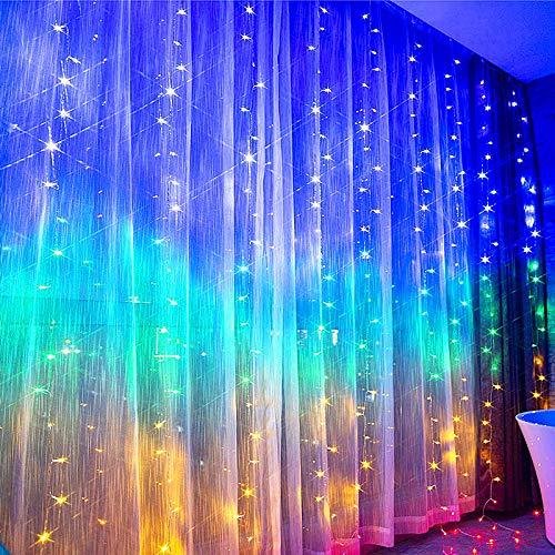 NIWWIN Suspendus Fenêtre Rideau Lumières 3m × 3m USB 300 LED Guirlande Lumineuse Avec 8 Modes Télécommande Minuterie Chambre Fête De Mariage Intérieur Extérieur Décoration (Multicolore)