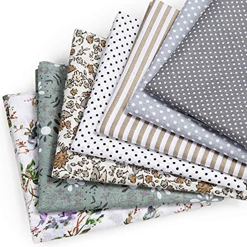 MOOKLIN ROAM 7 Pezzi Tessuto Cotone, Stoffa Patchwork Tessuti a metraggio, 50 x 50 cm Scampoli Stoffe per Cucito Creativo al Metro per Bambini Fai da