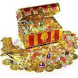 Ulikey Cofre del Tesoro Pirata, Monedas de Oro y Gemas Piratas del Tesoro Juguete Niños, Búsqueda del Tesoro, Pirata del Tesoro para la Caza, Cofre del Tesoro Decoración Partido Regalo (Tapa cuadrada)