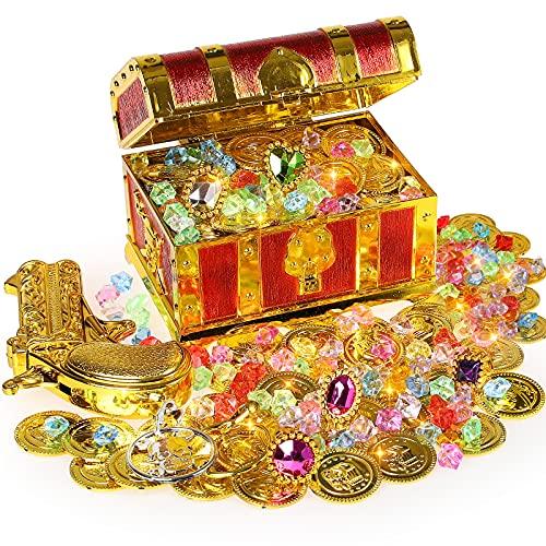 Ulikey Scrigno del Tesoro Pirata, Tesoro Pirata Monete d'oro e Diamanti Acrilici, Pirata Forziere Giocattolo Halloween Monete di Tesoro Treasure per Caccia a Tesoro, Decorazione Regalo per Bambini