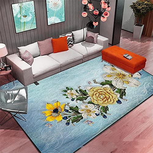 Tapis Poil Ras Grand Tapis Chambre Blue Yellow Flower Motif Design Restaurant Cafe Girl Room Slip Water WashTapis Salon 80X160cm
