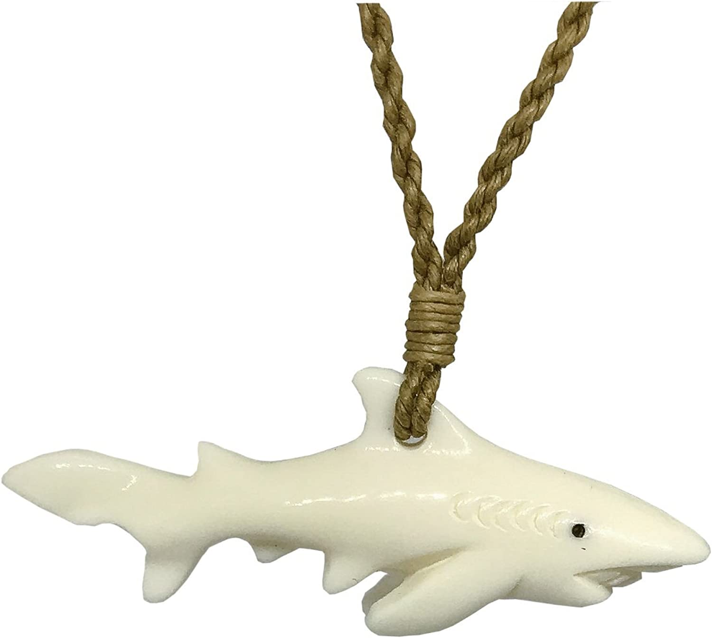 Hawaiian Jewelry Tiger Shark Buffalo Bone Hand Carved Pendant Necklace Hawaii