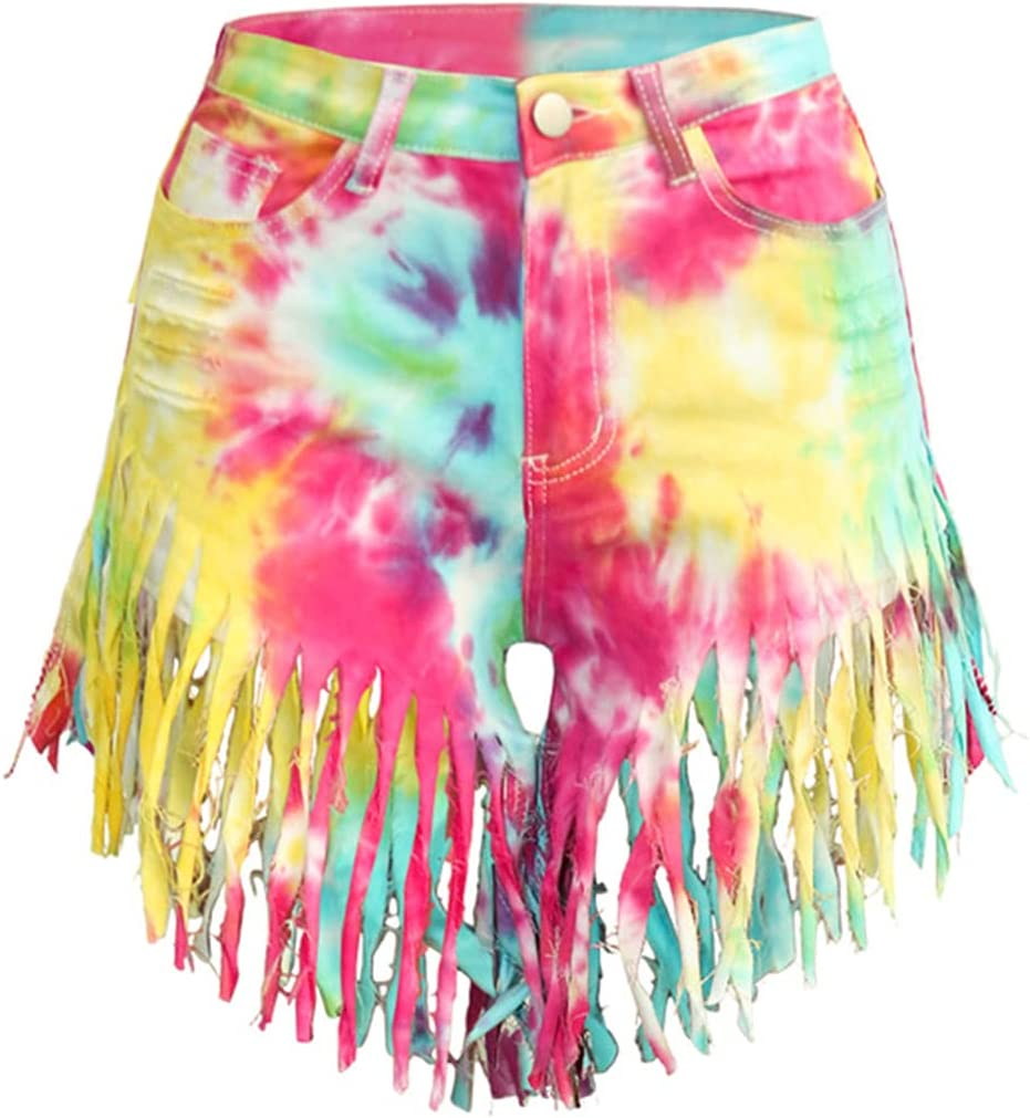 Women High Waisted Ripped Denim Shorts Multicolor Print Frayed Raw Hem Tassels Mini Jeans Skinny
